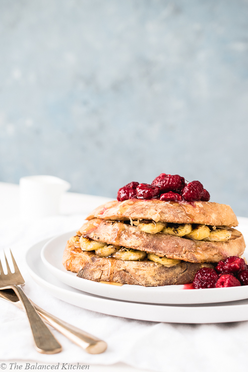 Vegan French Toast with Banana, Raspberries & Syrup