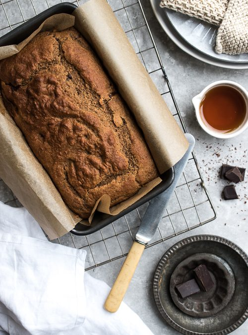 Vegan Banana Bread with Melted Chocolate Chunks