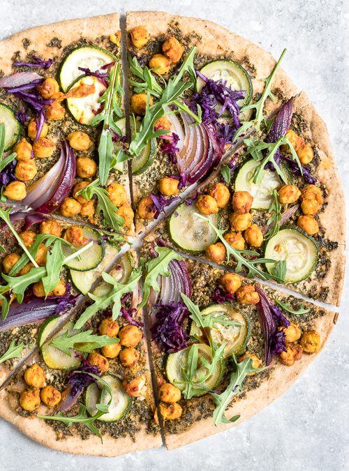 Vegan Kale Pesto Pizza with Spiced Chickpeas, Courgette & Rocket