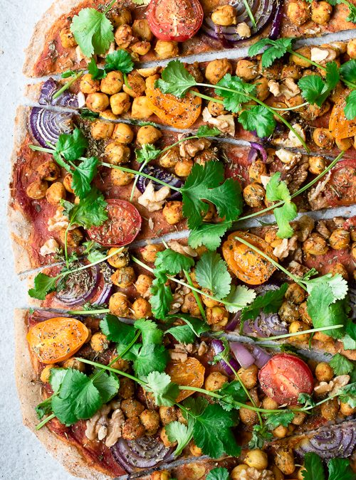 Spiced Chickpea, Tomato, Onion and Coriander Vegan Pizza