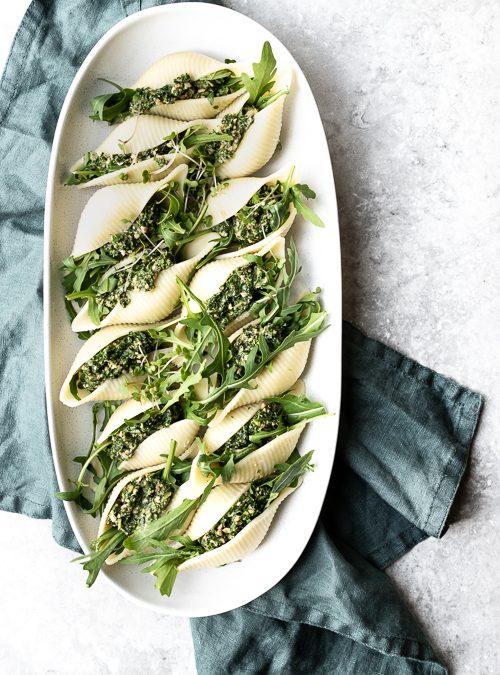 Vegan Rocket, Walnut & Kale Stuffed Pasta Shells