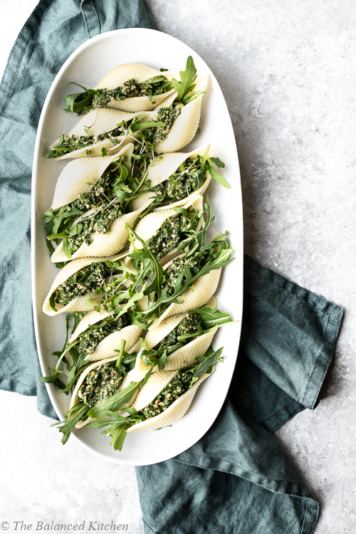 Vegan Rocket, Walnut & Kale Stuffed Pasta Shells