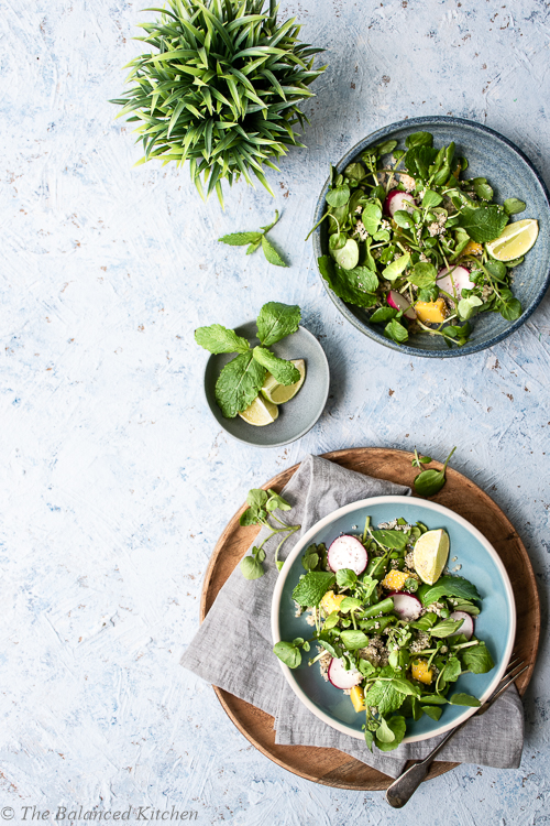 Mint, Mango, Watercress & Quinoa Salad with Lime