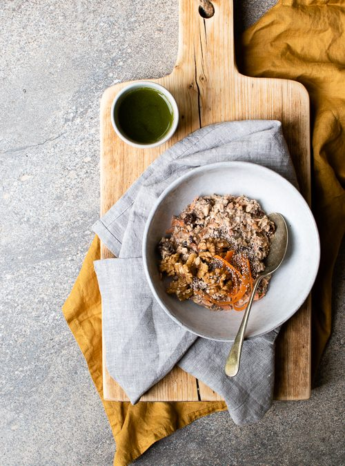Almond Carrot Cake Oats with Maple, Raisins & Chia