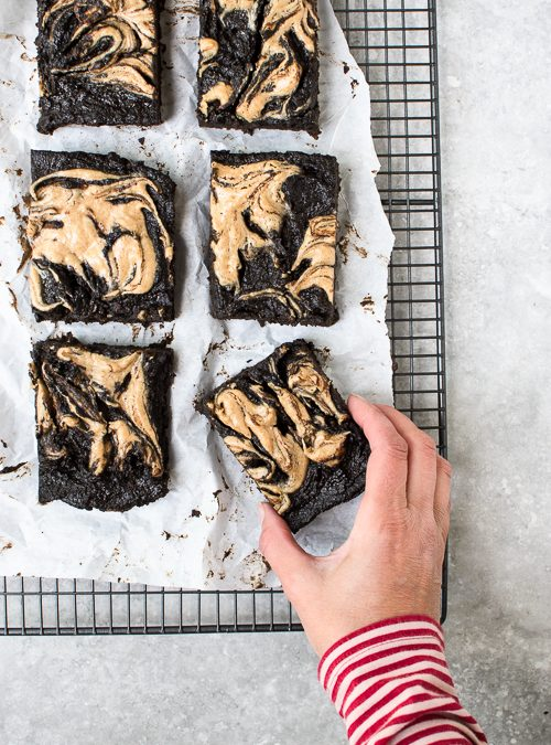 Vegan Carob Fudge Sweet Potato Brownies with Peanut Butter Swirl