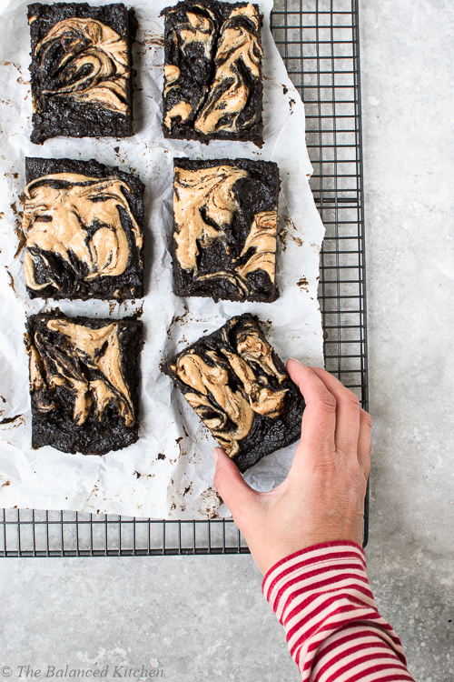 Vegan Carob Fudge Sweet Potato Brownies with Peanut Butter Swirl