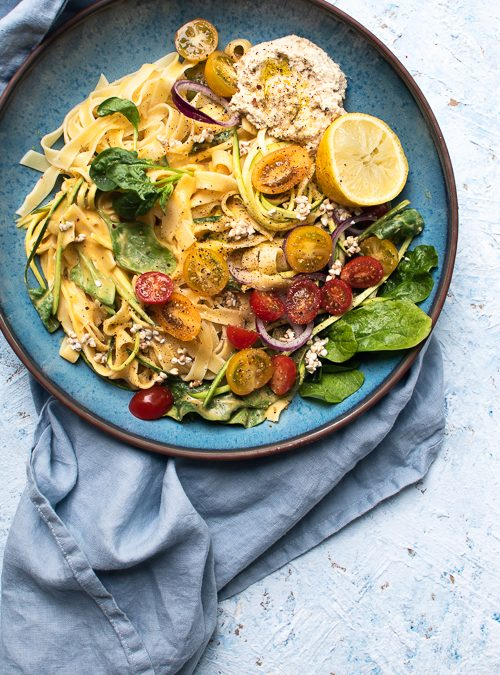 Vegan Tagliatelle with Butternut Sauce, Cashew Cheese & Sprouted Buckwheat