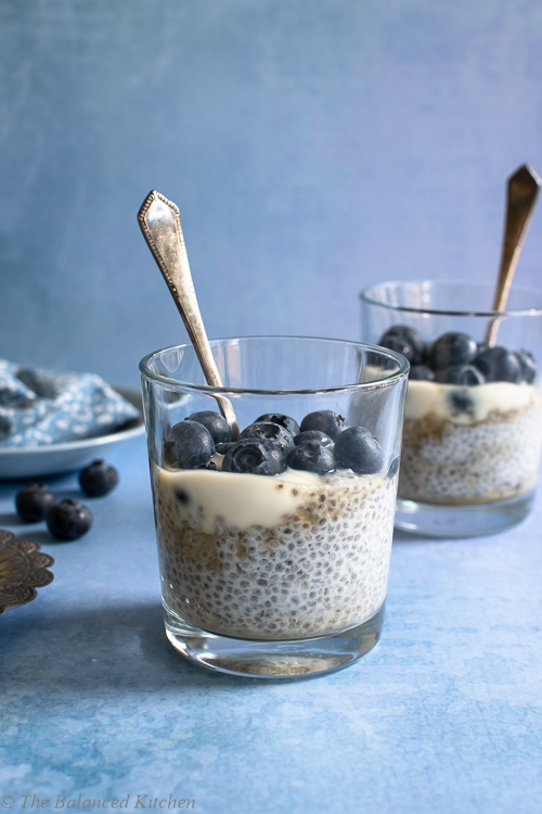 Blueberry & Coconut Yoghurt Chia Pudding Breakfast Jar