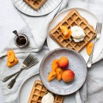 vegan wholegrain spelt waffles with coconut icecream and apricots