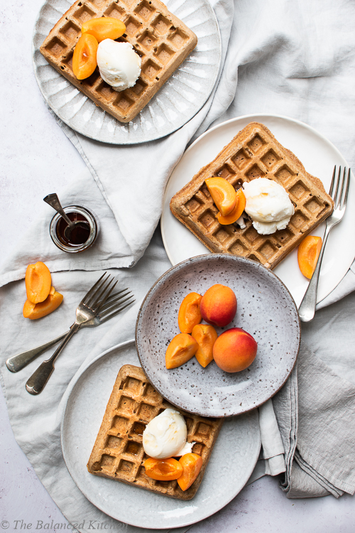 Wholegrain Spelt, Vegan Waffles with Coconut Icecream & Apricots