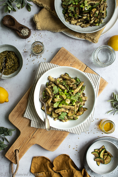 Courgette, Rocket & Spinach Pesto Pasta with Green Lentils