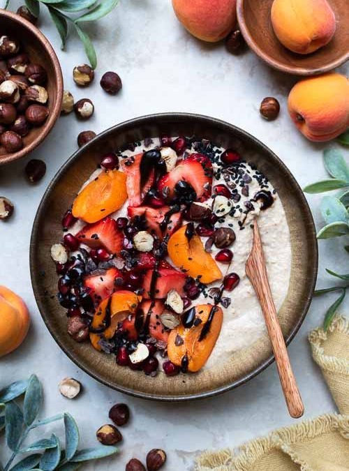 Coconut & Maca Oats with Apricot, Strawberries & Chocolate
