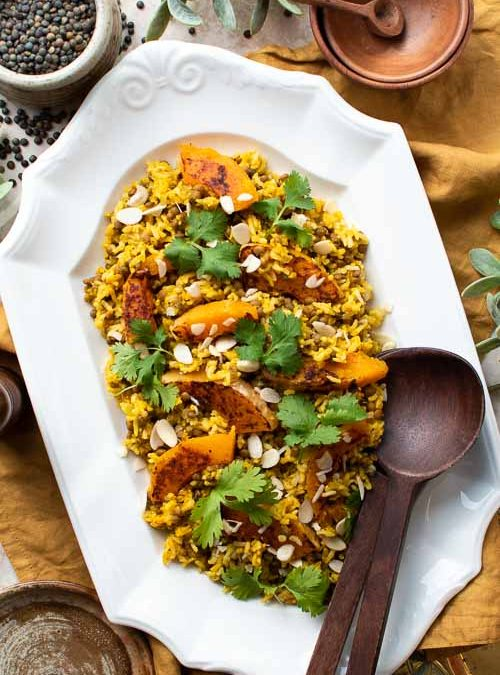 Chargrilled Butternut, Turmeric & Cumin Spiced Rice & Lentils, Flaked Almonds and Coriander