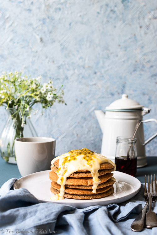 Oil-free Wholemeal Pancakes with Vanilla Yoghurt & Passion Fruit