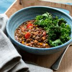 puy lentils spiced with tamarind, turmeric and chilli with crispy kale