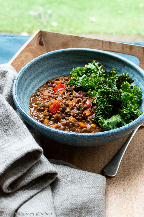 Tamarind, Turmeric & Chilli Spiced Lentils with Crispy Kale