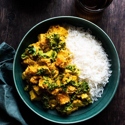 Tofu sweet potato kale curry with tamaring garlic and ginger