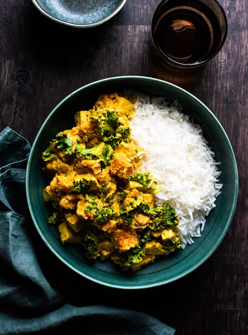 Tofu, Sweet Potato & Kale Curry with Tamarind & Ginger