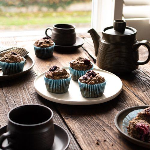 Blackberry apple pear breakfast muffins vegan sugar free