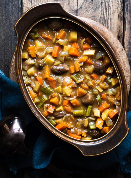 vegeatble hotpot stew with chestnuts and rosemary