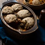 vegeatble hotpot stew with chestnuts and rosemary vegan dumplings