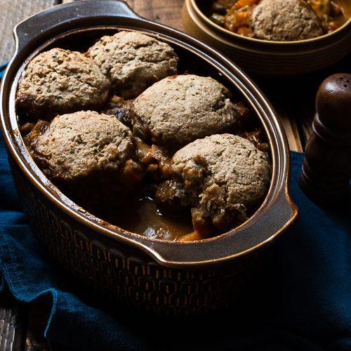vegeatble hotpot stew with chestnuts and rosemary vegan dumplings