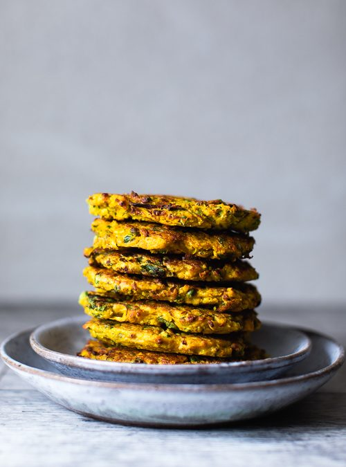Cauliflower, Leek & Pea Fritters in a Turmeric & Chickpea Batter