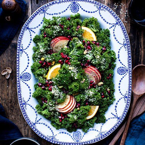 Winter Kale, Pomegranate, Orange, Pistachio & Hemp Salad