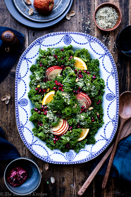 Winter Kale, Pomegranate, Orange, Pistachio & Hemp Salad