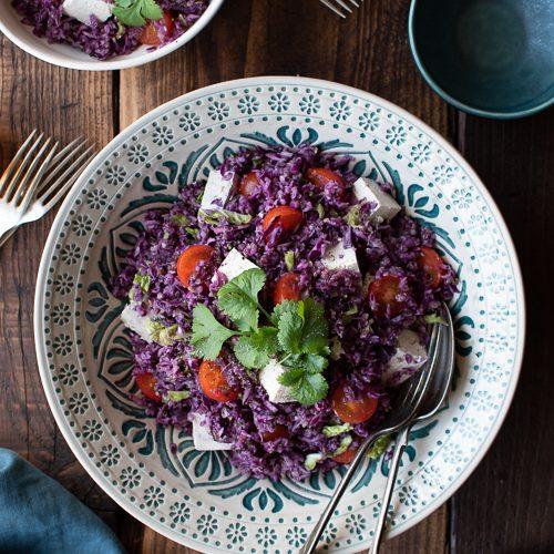 vegan, caesar salad, red cabbage, tofu, tomatoes, walnuts, brazil nuts,