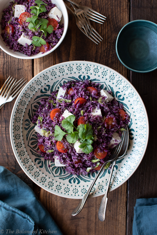 Tofu, Red Cabbage Ceaser Salad with Quinoa & Tomato