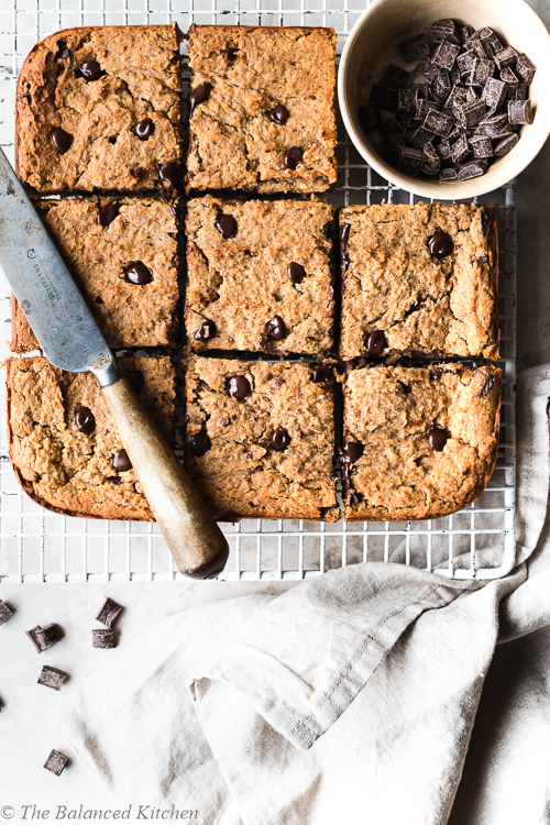 Vegan Chocolate Chip, Chickpea & Peanut Butter Blondies