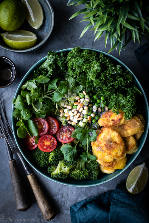 Super Green Buddha Bowl with Fried Plantain & Toasted Pine Nuts