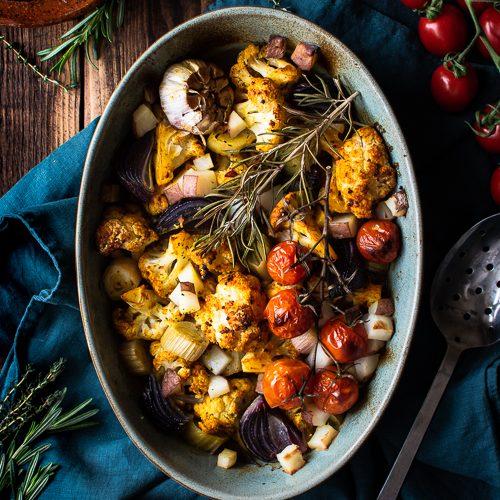 Turmeric & Mustard Roasted Cauliflower with Leek & Potatoes
