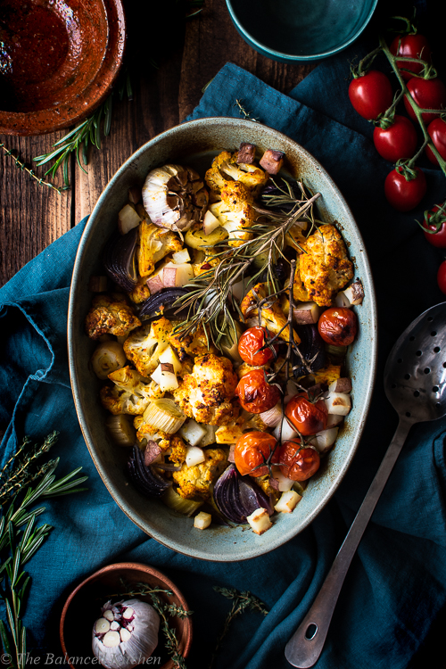 Turmeric & Mustard Roasted Cauliflower with Leek, Garlic & Potato