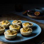 Mini Mango & Passion Fruit Raw Cheesecakes - vegan
