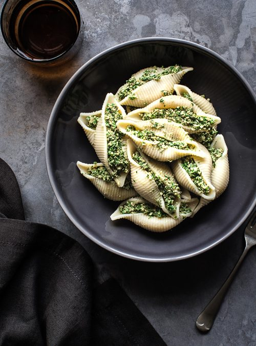 Kale & Walnut Pesto Stuffed Giant Pasta Shells