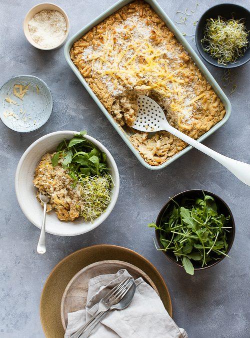 Healthy, Vegan Cauliflower & Butter Bean Mac'n'Cheeze Bake