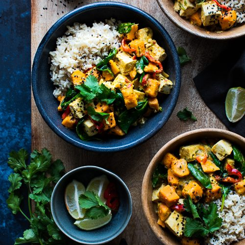 Thai Green Curry with Sweet Potato, Spinach & Red Pepper