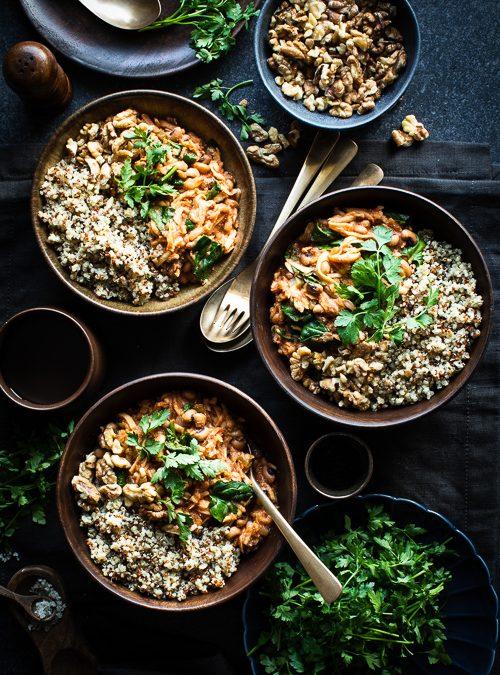 Harissa Spiced Celeriac, Black-Eyed Beans, Quinoa & Walnuts