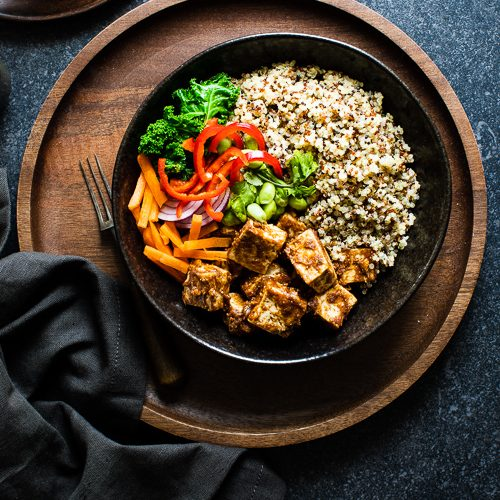 Spicy Peanut Butter Tofu with Quinoa and Crunchy Vegetables