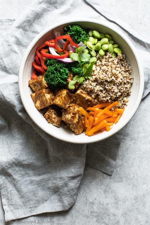 Sticky Satay Tofu with Quinoa, Edamame, Carrots & Kale