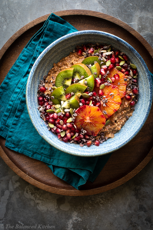 Chocolate & Maca Oats with Kiwi, Orange, Pomegranate & Seeds