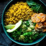 Curried Quinoa with Fenugreek, Courgette & Kale Stir Fry