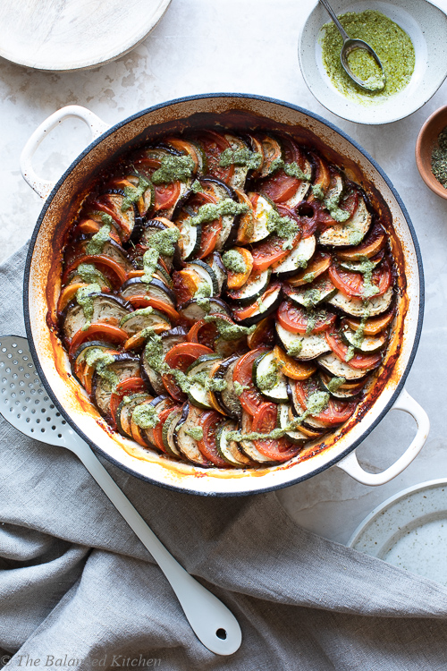 Ratatouille Swirl with Garlic Passata Base and Green Pesto drizzle