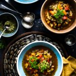 Chunky Root Vegetable Soup with Parsley & Basil Pesto