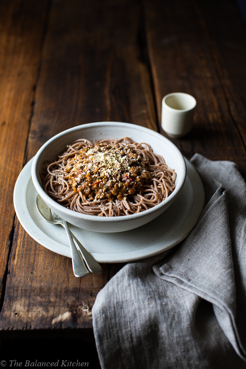 Veg Loaded Lentil Spag Bol with Cashew Parmesan