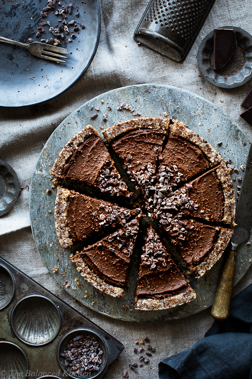 No-Bake, Chocolate Tart with Nut Crust and Cacao Nibs