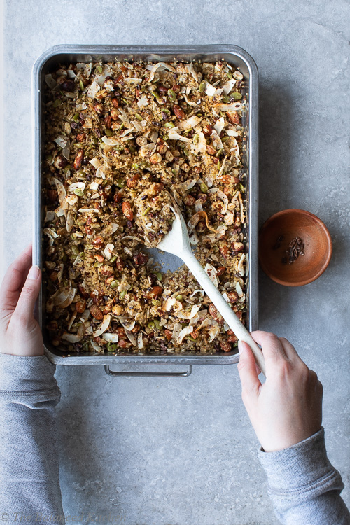 Toasted Quinoa, Nut & Seed Granola with Sweet Coconut