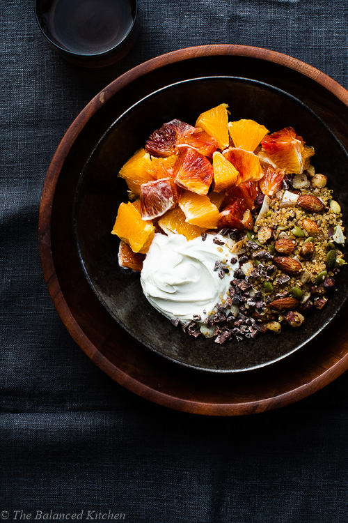 Nut, Seed & Quinoa Granola with Yoghurt & Oranges